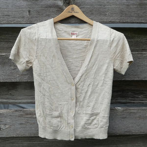 💛 Mossimo Short Sleeve Button Up Sweater Tan S